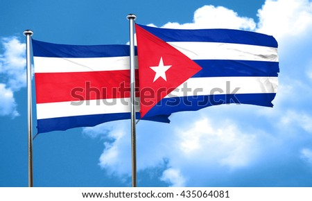 Costa Rica flag with cuba flag, 3D rendering