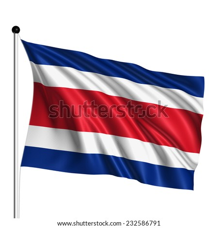 Costa Rica flag with fabric structure on white background