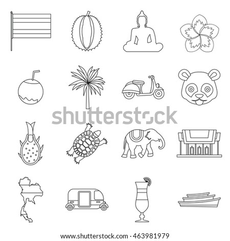 Costa Rica icons set in outline ctyle. Republic of Costa Rica set collection  illustration