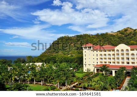 COSTA RICA,LIBERIA, DECEMBER,8, 2013 - Five star Hotel Riu Guanacaste in Costa Rica. Guanacaste is one of the seven provinces and has mainly dry tropical forest. - stock photo