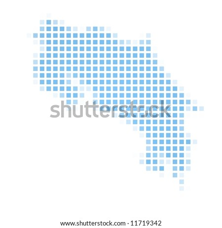 Costa Rica map square mosaic. Easy to recolor. - stock photo