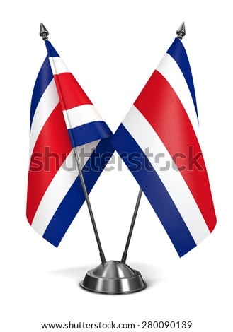 Costa Rica - Miniature Flags Isolated on White Background. - stock photo