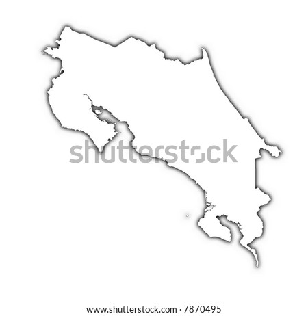 Costa Rica outline map with shadow. Detailed, Mercator projection. - stock photo
