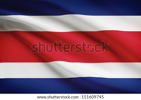 Costa Rican flag blowing in the wind. Part of a series. - stock photo
