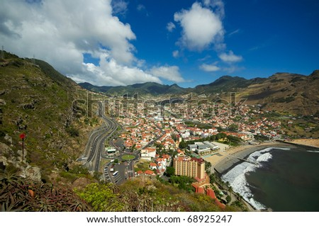Costline near Madeira's town of Machico - stock photo