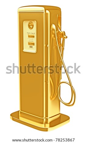 Costly fuel: golden gasoline pump isolated on white. Large resolution - stock photo