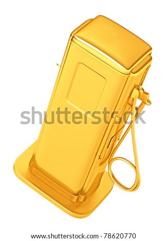 Costly gasoline: golden fueling pump isolated on white. Large resolution - stock photo