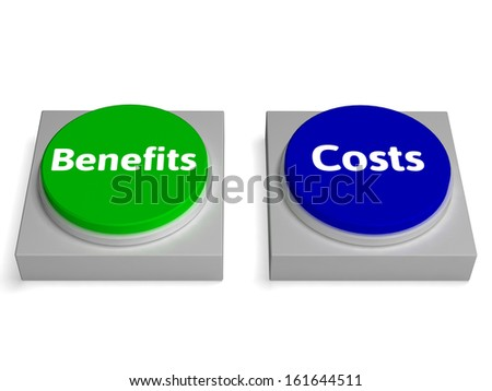 Costs Benefits Buttons Showing Cost Benefit Analysis - stock photo