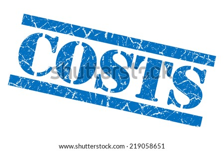 costs blue square grungy isolated rubber stamp - stock photo