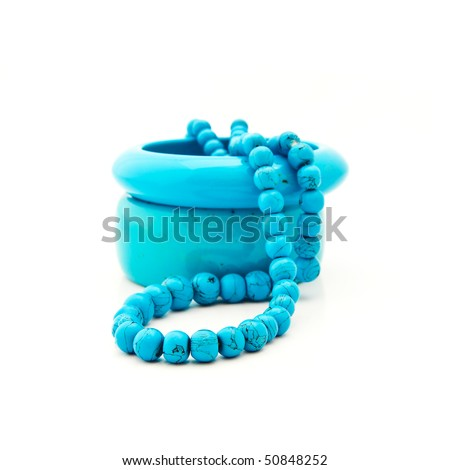 Costume jewellery from turquoise - stock photo