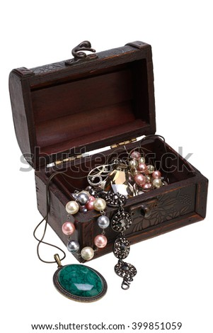Costume jewelry in jewelry box on white background with Clipping Path - stock photo