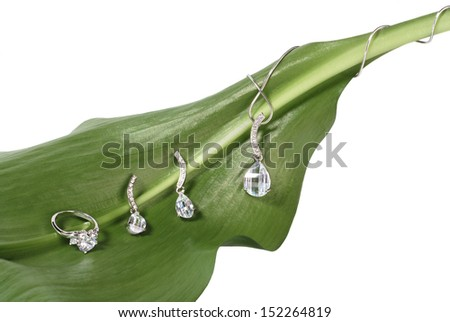 Costume jewelry on fresh green leaf isolated on white - stock photo