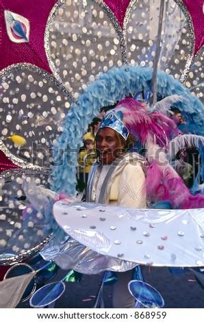 Costumed woman in St. Patrick's Day Parade, Dublin, Ireland. - stock photo