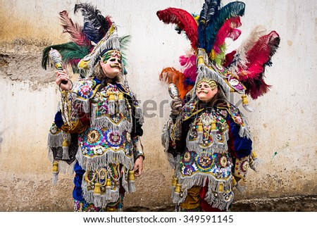 costumes and masks feathers in Guatemala - stock photo
