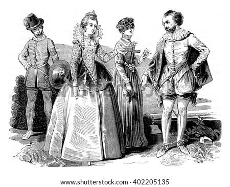 Costumes Elizabethan (1565-1569), vintage engraved illustration. Colorful History of England, 1837. - stock photo