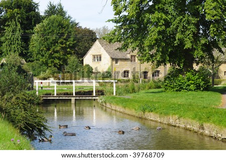 Costwold Village of Lower Slaughter - stock photo