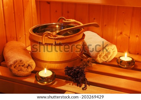 cosy atmosphere in the sauna in a spa area of ??a wellness hotel. recreation and relaxation from everyday life. - stock photo