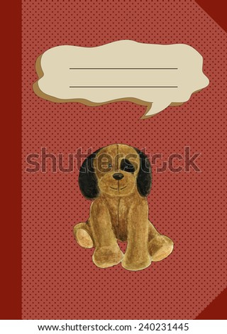 cosy copybook for infant school with plush dog - stock photo