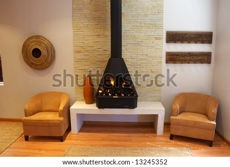 Cosy Living Room with a modern gas fireplace - stock photo