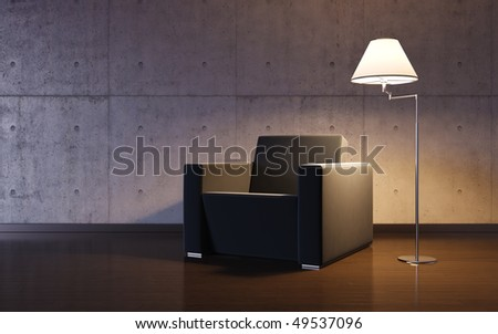 Cosy minimalism interior (3d HQ interiors with copy spaces series) - stock photo