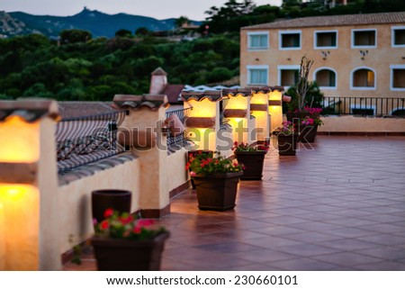 Cosy terrace is highlighted in yellow in Sardinia - stock photo