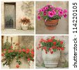 cosy tuscan nook - collage - stock photo