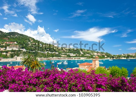 Cote d'Azur, french reviera, view of luxury resort and bay of Villefranche-sur-Mer near Nice and Monaco - stock photo