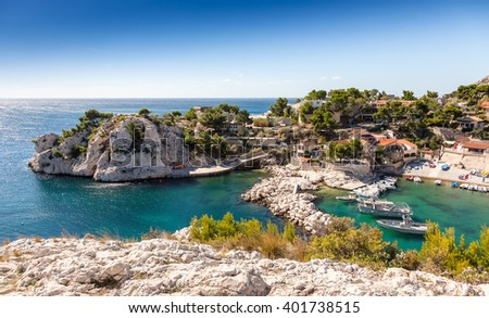 Cote d`azur, Niolon, Bay of Marseille, Provence, France - stock photo