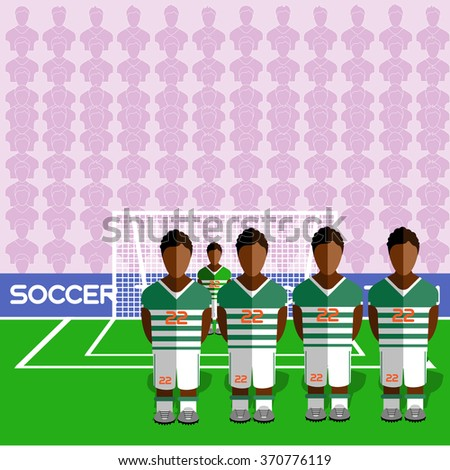 Cote d'Ivoire Football Club Soccer Players Silhouettes. Computer game Soccer team players big set. Sports infographic. Football Teams in Flat Style. Goalkeeper Standing in a Goal. - stock photo
