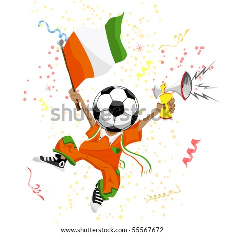 Cote d'Ivoire Soccer Fan with Ball Head. - stock photo