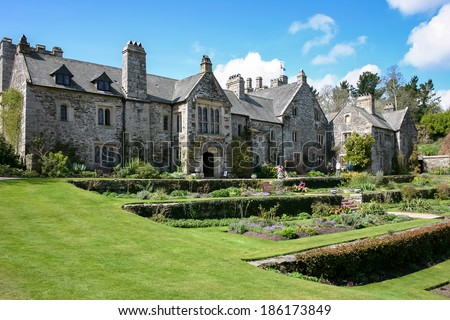 COTEHELE, CORNWALL/UK - APRIL 14 : View of the front of the Cotehele building in Cotehele Cornwall on April 14, 2004. Unidentified people.