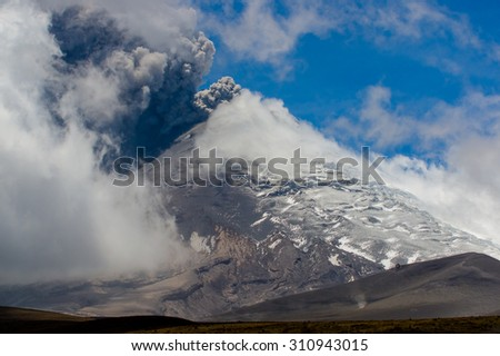 COTOPAXI, ECUADOR - AUGUST 26, 2015: Beautiful view of magnificent Cotopaxi volcano erupting in Ecuador, South America