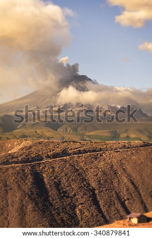 Cotopaxi Volcano Powerful Day Explosion, South America - stock photo
