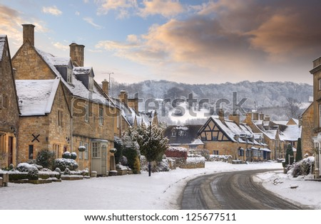 Cotswold village of Broadway in snow, Worcestershire, England - stock photo