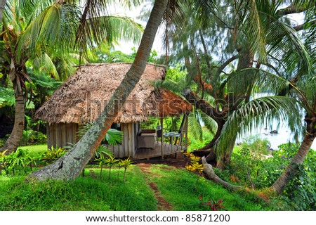 Cottage at the Bay of Port Resolution, Tanna, Vanuatu - stock photo