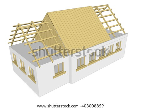 cottage building house on white background 3d rendering 4