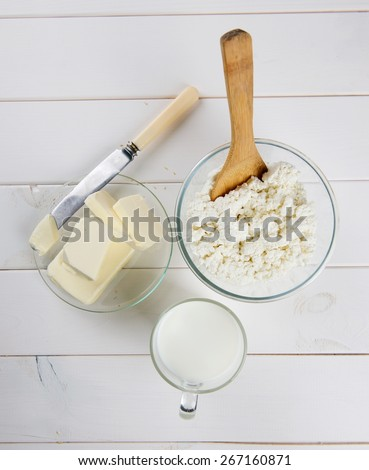 cottage cheese and milk - stock photo