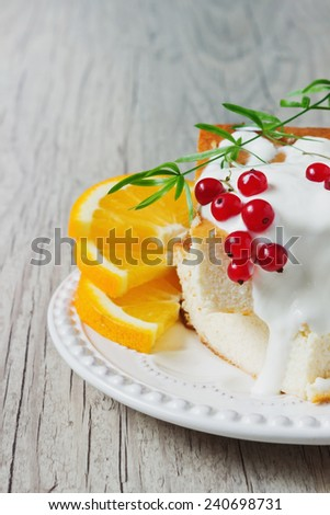 cottage cheese casserole, fresh fruit and berries on a plate on a wooden background. health or diet concept. selective focus - stock photo