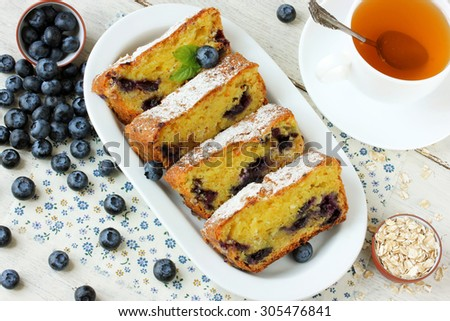 Cottage cheese casserole with oatmeal and blueberry - stock photo