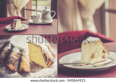 Cottage cheese casserole with raisin - stock photo