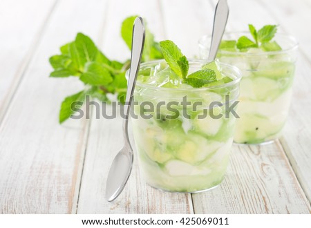 Cottage cheese dessert with kiwi, decorated with marmalade and mint.