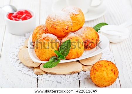 Cottage cheese donuts. - stock photo