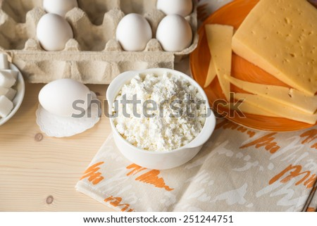 Cottage cheese, eggs, hard cheese