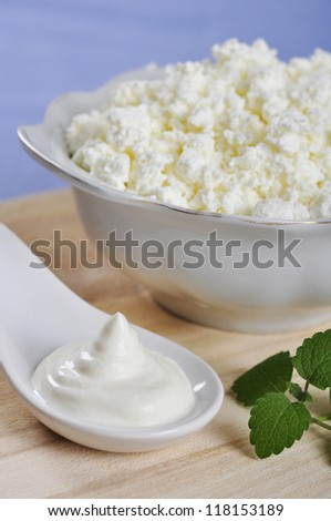 Cottage cheese in bowl with sour cream on wooden cutting board - stock photo