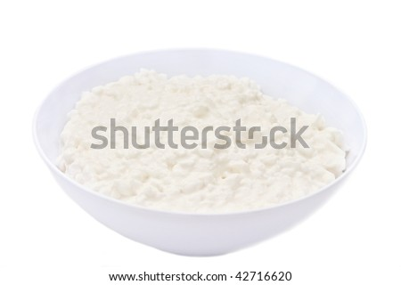 Cottage cheese isolated on white background - stock photo