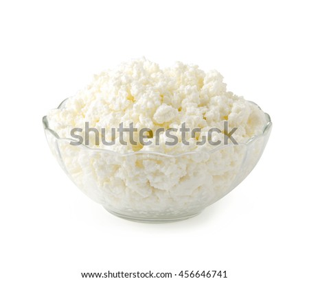 Cottage cheese isolated on white background with clipping path. - stock photo