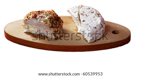 Cottage cheese two sorts on plate wooden background chroma key