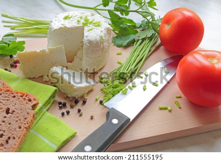 Cottage cheese with fresh tomato and chive - stock photo