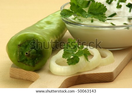 cottage cheese with onion and organic parsley