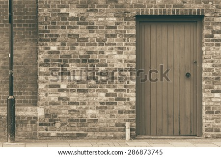 Cottage door of a terraced English house